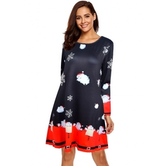 New Women's Christmas Dress, Christmas Printing, Hot Selling, Polyester. m Black and Red