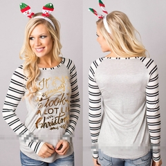 Women's T-shirt With Round Collar And Long Sleeves, Bottom Shirt, Christmas Printing, Polyester.Tops gray m