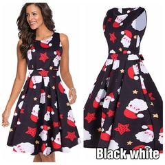 The New Women's Sleeveless Christmas Dress Of 2019, Top-class, Hot Selling, Polyester. l Black and White