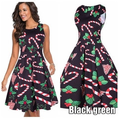 The New Women's Sleeveless Christmas Dress Of 2019, Top-class, Hot Selling, Polyester. l Black and Green