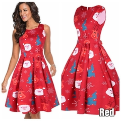 The New Women's Sleeveless Christmas Dress Of 2019, Top-class, Hot Selling, Polyester. m red
