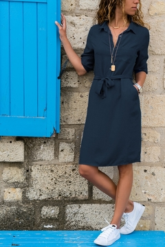 Women's Lapel 7-sleeve Shirt Dress, Pure Color, Suitable For Four Seasons, Cotton And Polyester. m dark blue