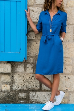 Women's Lapel 7-sleeve Shirt Dress, Pure Color, Suitable For Four Seasons, Cotton And Polyester. m blue