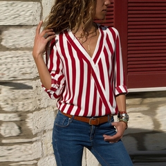 Ladies V-neck Long Sleeve Striped Shirt, Loose, Suitable For Four Seasons.Tops red m