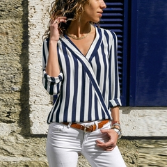 Ladies V-neck Long Sleeve Striped Shirt, Loose, Suitable For Four Seasons.Tops Dark blue xl