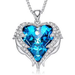 CDE Angel Wing Necklace Women Crystals from Swarovski Heart Pendant Classic Mothers Day Gift Jewelry blue one size