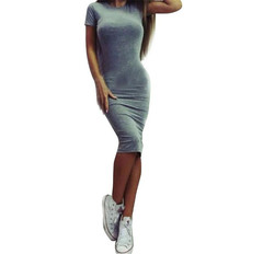 Short sleeved dress Fashion and New Kind of Bucket Button dress Slimming Popular dresses tight dress L Gray