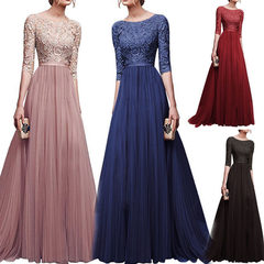 New style lace dress  Chiffon long skirts High waist  five points sleeves formal dress Casual wear s pink