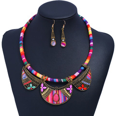Woven corded fabric earring collar set Fashion Jewelry Handmade  Retro ethnography Necklace pendant color:1 one size