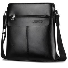 PU Leather Fashion Men Briefcases Business Bag 2019 New Office Handbag Single Belt Shoulder Bags black 28cm*25cm*6cm