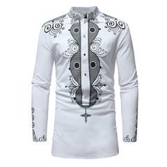 Mens fashion Stylish Shirt Casual Slim Fit Stand Collar Fashion Long Sleeve T shirt Shirts Clothes white m polyester fiber,cotton