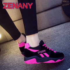 ZENANY 2019 Increase Height Sports Skateboard Leisure Women's Shoes Thick-soled Muffin Walking Shoes red 39