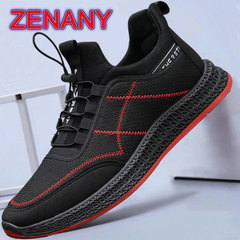 ZENANY Spring 2019 New Youth Sports Shoes Men,Men's Mesh Breathable Leisure Shoes,Fashion sneakers black red line 43