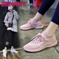 ZENANY Socks Shoes Female 2019 Breathable Sports Women's Shoes Student Shoes Women Mesh sneakers Pink 35
