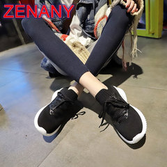 ZENANY Socks Shoes Female 2019 Breathable Sports Women's Shoes Student Shoes Women Mesh sneakers black 40