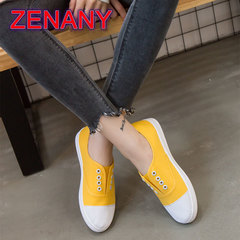 ZENANY Lowest Price Low top Canvas Women's Shoes,Flat-soled breathable Running Sneakers Shoes Women yellow 36
