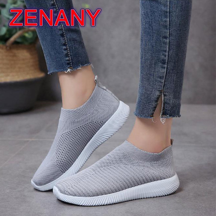 ZENANY Lowest Price Mesh Breathable Women's Sports shoes,Running Shoes,Flat Shoes Women,Sneakers Gray 35