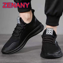 ZENANY Boom Promotion Men's Leisure Sports Running Breathable Flying Mesh sneakers Canvas Shoes Men black 43