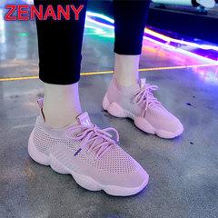 ZENANY Boom Promotion Korean Socks women's Shoes Super-hot Flying Weaving Sports Running Shoes pink 39