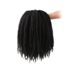 The caterpillar explosive head 18 root   per package  100% carney caron silk The wig black 18 inches