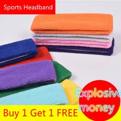 Buy 1 Get 1 FREE Sports Headband Fitness Ride Running Basketball Yoga Sweat Absorbing Towel Headband black