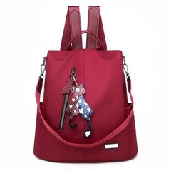 Women's Oxford cloth backpack wild fashion bag red 32*13*32