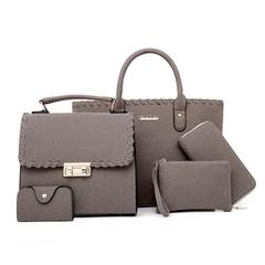2019 new five-piece women's bag shoulder-slung fashion bag gray 30*15*25