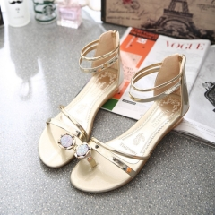 Crystal with drill sandal thong fashion women's shoes with flat sole golden 6