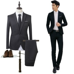 Men's new hot fashion solid color business slim casual suit interview two-piece suit twinset black xl