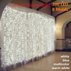 3Mx3M 300LED White/Warm/red Light Romantic Christmas Wedding Outdoor Decoration Curtain String Light green 3m*3m as picture