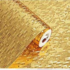 0.53*10m Golden/Silver 3D Wall Decals Home PVC waterproof Sticker Living Room Decor Golden mosaic 0.53*10m