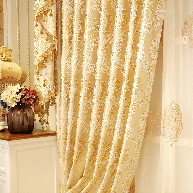 European Golden Royal Luxury Curtains For Bedroom Window