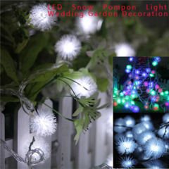 LED Snow Pompon Fairy String Light For Christmas Party Wedding Outdoor Garden Decoration DIYLighting white 20 LED/2 M