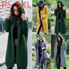 Autumn Winter Women Hooded Long Knitted Cardigan Sweater Coat Lady Solid Color Soft Fashion Overcoat 4XL green