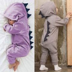 Warm Baby Cute Dinosaurs Romper Cotton Newborn Baby Jumpsuit Hoodies Kids Overalls Clothes Sleepwear grey 80 for weight 5-7 kg