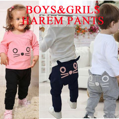 2019 New Hot Boys and Girls Cute Baby Kids Cartoon Harem Pants Trousers Pants for 3-8 Years Old 100cm grey