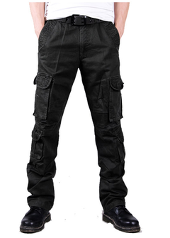 High-grade cotton washed cargo pants large size trousers outdoor camouflage trousers men black 29