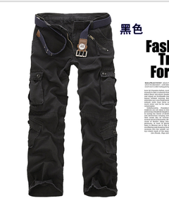 Loose camouflage trousers cotton overalls for men black 29