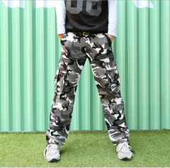 Europe and the United States sell cotton camouflage trousers men and women black and white 29