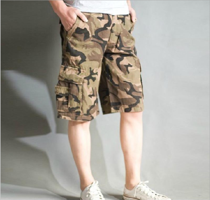 Men's all-cotton wash workwear medium trousers camouflage split trousers Yellow black camouflage 29