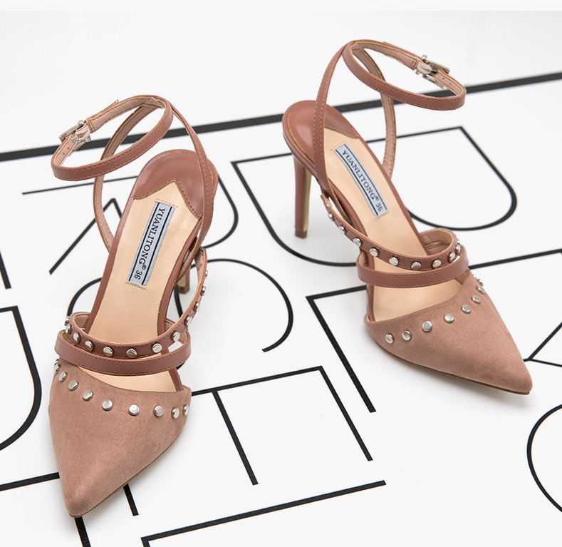 e6670f28d Fashion sandals with rivet for women 2019 summer high heels for ...