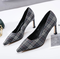 The Korean version of the spring new single-toe shoes pointed women 2019 fashion comfortable plaid blue 35