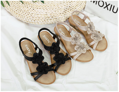 New 2019 ethnic style women's shoes comfort flower large size women's sandals beach shoes black 38