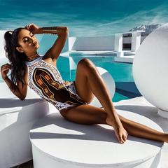 African bathing print one-piece 2018 women's high Trikini bikini Brazil Monokini Plus size swimsuit BHo1 white m