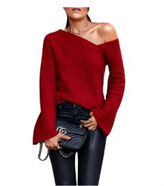 2019 new large size long sleeve casual solid color loose sweater ladies fashion women's clothing red S