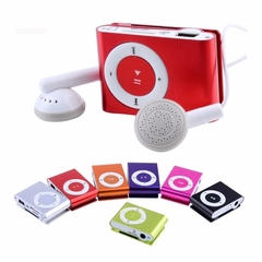 Insert Memory Card MP3 Player Metal Clip MP3 Mini Sport Player With Headphones and Charging Cable Red
