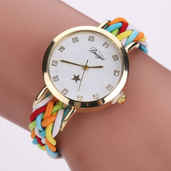 New Handmade Braided Watch Women Weaving Watch Fashion Ladies Quartz Wrist Watch Friend   Gift Colorful normal