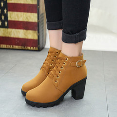 Winter Clearance Sale 1 Pairs Lace-Up Ankle Boots Women'S Shoes Thick Heel Martin Boots Hot Sale Brown 35