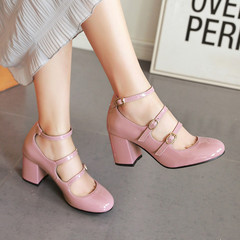 New Arrival 1 Pairs PU Sexy Hollow High Heels 34-43 Thick Heel Women'S Shoes Europe Fashion Pink 37