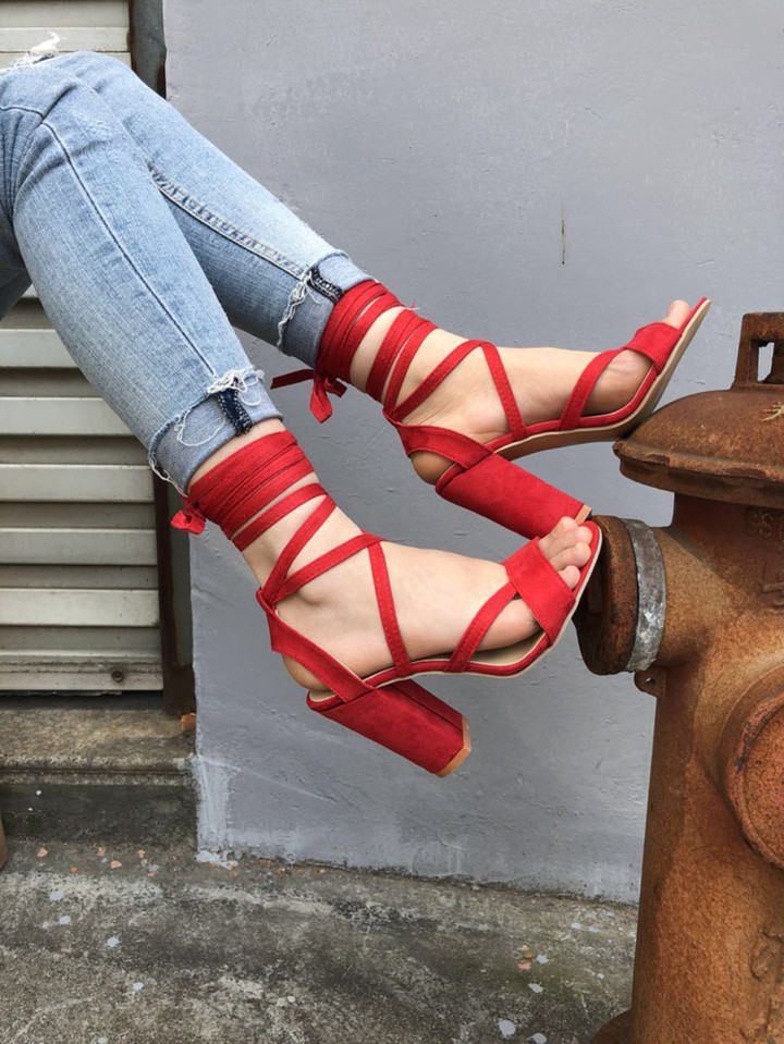 1 Pairs Fashion High Heels Sandals Plus Size 34-43 Women Sexy Bandage Suede Chunky Heel Shoes Red 34
